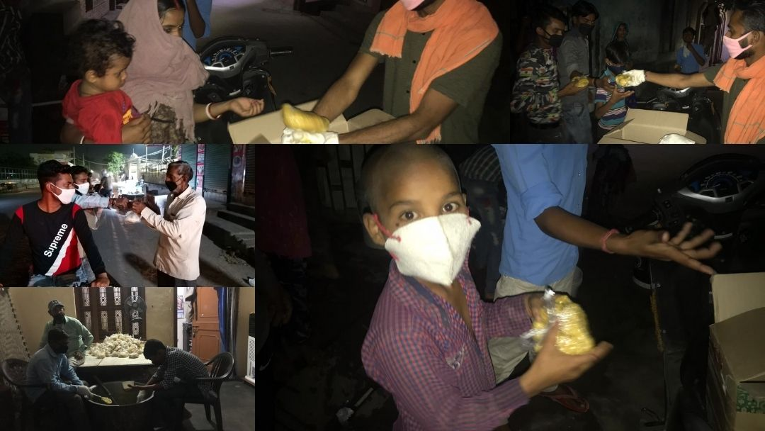 Packed food distribution to needy during pandemic lockdown